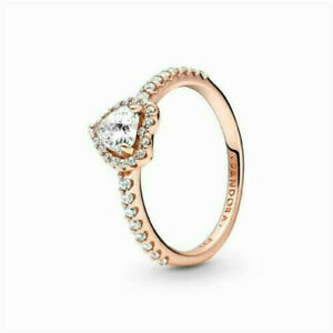 Authentic Pandora 14k Rose Gold Ring Sparkling Elevated Heart 188421C02 size 7