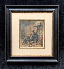 Adriaen van Ostade signed watercolor of men drinking in a tavern ~ 17th Century