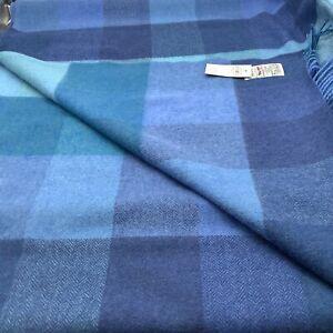 Avoca Handweavers Ireland 100% New Wool Blues Herringbone Plaid Throw 56X72