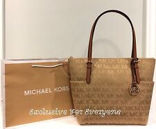 NWT Michael Kors Jet Set Camell MK Signature Top Zip Tote Shoulder Bag $248