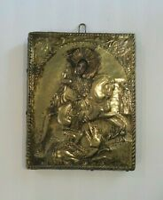 19th C. Greek Religious Icon, Brass Riza, St. George Slaying Dragon