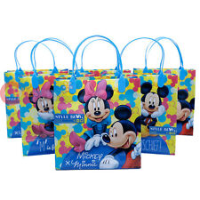 "Disney Mickey Minnie Mouse Party Gift Bag Set of 6 Blue 8.5"" Reusable Tote Bag"