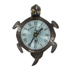 Vintage Tortoise Wall Mount Desk Clock Antique Brass
