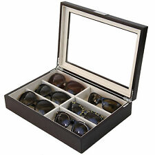 Sunglass Case Storage Brown Wood Grain Finish Glass WindowTSSG500BRN