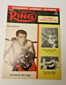 THE RING 1956 ROCKY MARCIANO COVER BOXING MAGAZINE RARE COOL DECENT CONDITION