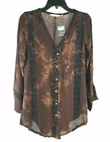Soft Surroundings Top XS Brown Purple Rustic Batik Tunic Button Down Blouse New