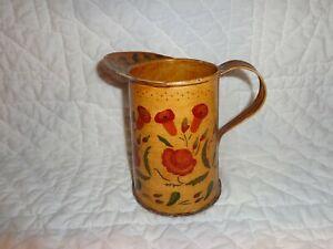 Vintage Hand Painted Folk Art Toleware Pitcher/Creamer
