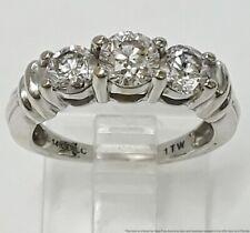 1tcw Fine White Diamond 3 Stone Ladies Engagement Ring 14K White Gold Size 5
