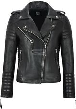 Ladies Leather Jacket Classic Biker Style Black REAL Leather Womens Jacket 2260