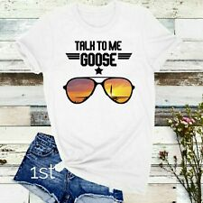 Top Gun Talk To Me Goose Gildan White SummerT-Shirt Top Gun Maverick Jet Slogan