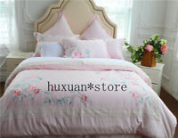 Luxury Egypt Cotton Flowers Birds Bedding Set Embroidery Silky Duvet Cover Sheet
