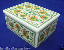 "4""x3""x2"" White Antique Jewelry Box Hakik Inlay Art Collectible Gift Decor H2107"