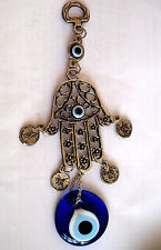FATIMA's HAND HAMSA TURKISH GLASS EVIL EYE  LUCKY HANGINGS with COINS, 20 CM
