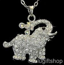 18K WHITE GOLD PLATED LOVELY ELEPHANT PENDANT NECKLACE USE SWAROVSKI CRYSTALS