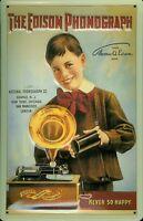 Edison Phonographe Boy Panneau Métallique Plaque 3D en Relief Voûté Étain Signer