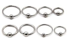 6mm - 19mm Large Captive Bead Ring Earring Circular Bar CBR Nipple Septum Hoop