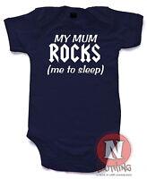 Naughtees Clothing My Mum Rocks Me To Sleep Cotton Cute Babygrow Baby Suit vest