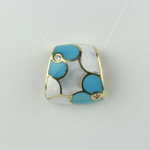 Ash Asher 14k Gold, Diamond, Turquoise and MOP Inlay Mosaic Slide Pendant