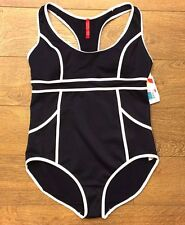 Spanx 2690 HOURGLASS RACERBACK ONE-PIECE SWIMSUIT sz 14 NWT BLACK/WHITE
