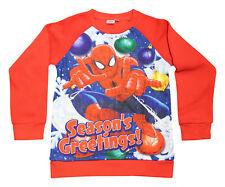 Marvel Spiderman Red Boys Superhero Christmas Xmas Jumper Childrens Kids Sizes