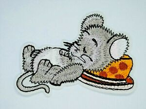 Cartoon Sleeping Mouse Iron on Motif Patch Child or adult Embellishment
