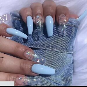 Fake Nails Blue With Butterfly Design Coffin Shaped False Nails Long Fake Nails