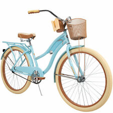 "Huffy 26"" Womens Bike with Basket Nel Lusso Perfect Fit Cruiser Bike Mint Blue"