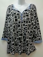 NY Collection 1X Black Womens Top Shirt Blouse 3/4 Sleeve Stretch Knit Plus Size