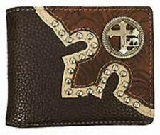 New! Brown leather Men's BI-FOLD WALLET w/ Cross & Praying Cowboy chrome studs