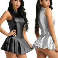 Womens Wetlook Mini Dress Sleeveless Zipper One Piece Skirt Rave Dance Nightclub