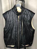 Vtg Motorcyle Leather Bomber Vest Black w/ 2 pocket Size Unk See Measurements