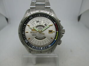 VINTAGE ORIENT MULTI YEAR CALENDAR STAINLESS STEEL AUTOMATIC MENS WATCH
