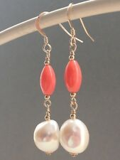 White Baroque Freshwater Pearls & Pink Bamboo Coral 14ct Rolled Gold Earrings