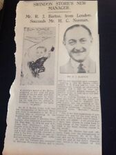 65-1 Ephemera 1936 Article R J Barton Mcilroy Swindon Store New Manager