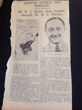 65-1 Ephemera 1936 Article R J Barton Mcilroy Swindon Store New Manager