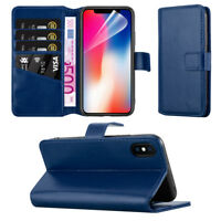 Apple iPhone X Leather Case Executive Flip Folio Wallet Card Slots Cover - Blue