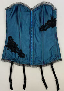 Fredricks of Hollywood Blue Satin Corset Bustier Size 34 With Removable Garters