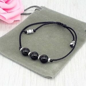 Handmade Natural Black Tourmaline Gemstone Cord Bracelet & Velvet Pouch. 6/8mm.