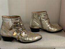 CHLOÉ SUSANNA LEATHER ANKLE BOOTS FOGLIA GREY GOLD GLITTER 36.5 UK 3.5