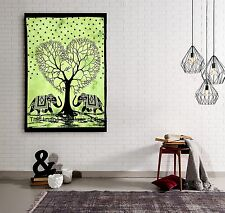 Indian Elephant Tree Of Life Wall Hanging Batik Poster Tapestry Throw Dorm Decor