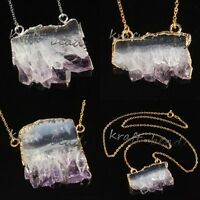 Natural Healing Crystal Druzy Amethyst Quartz Reiki Stone Pendant Chain Necklace