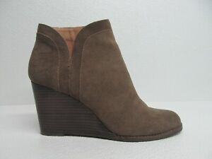 Lucky Brand Yimina Military Green Leather Wedge Ankle Boots Size Women's 12M