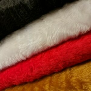 """Plain BRIGHT WHITE, RED, BLACK, TOFFEE Fun Faux Fur Fabric Material By Meter 58"""""""