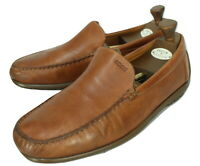 Ecco Brown Leather Driving Loafers UK 11.5 EU 46 Vegetable Tanned