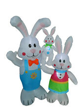 Air Blown Inflatable Easter Bunny Family Lawn Yard Art Indoor Outdoor Decoration