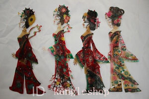 Chinese Cowhide Shadow Play Puppet--Four beauties (Arms legs Can move