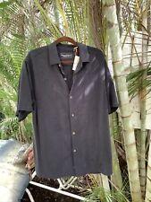 Tommy Bahama Men's Lei Riviera Jacquard Camp Shirt Black L 100% Silk