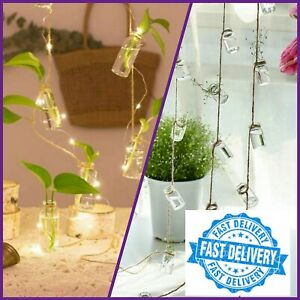 3Strings Hanging Glass Vase With 27Mini Bottle For Home Flower Plant Decoration