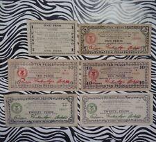 Lot of Six (6) Philippines Emergency Money Bills/Banknotes, Mindanao