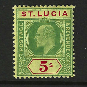 ST.LUCIA KGV 1907 5/- Green Red on Yellow SG77, MLH